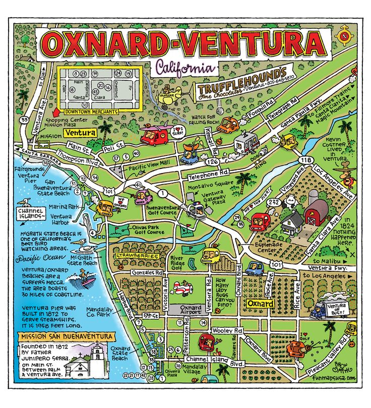 oxnard california | The Cartoon Map Capital of the World - Fun Maps USA
