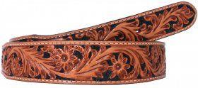 Mens - Hand-Tooled - Double J Saddlery Belt - B098-Natural Floral Tooled Belt