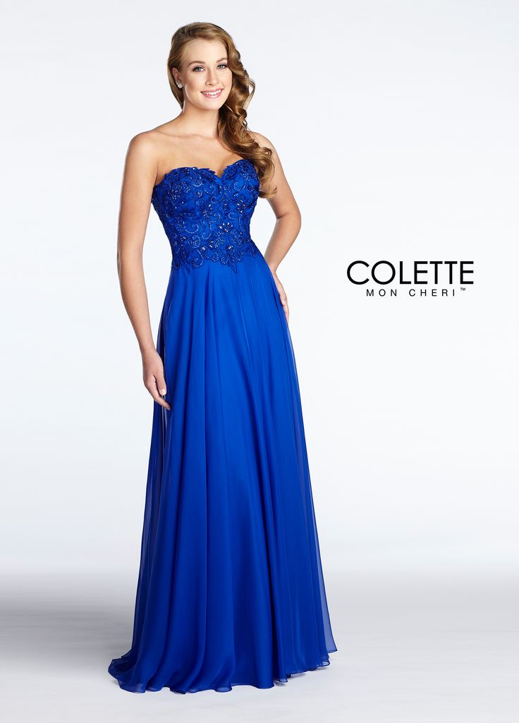 Colette for Mon Cheri CL17139 - If you want a figure-flattering dress that will make you look classy and sophisticated, this dress is for you! This strapless, flowy, a-line dress is made of a luxury chiffon. It features a beautifully embroidered bodice encrusted with sparkling stones.