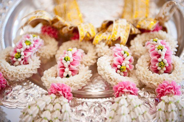 What are these? they're so pretty! Real Wedding: Dallas and Rich's Thai/Southern Wedding in NC | Intimate Weddings - Small Wedding Blog - DIY Wedding Ideas for Small and Intimate Weddings - Real Small Weddings