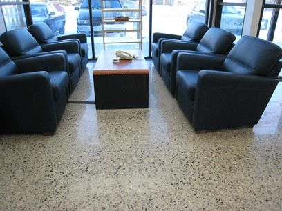 Polished concrete floor in reception