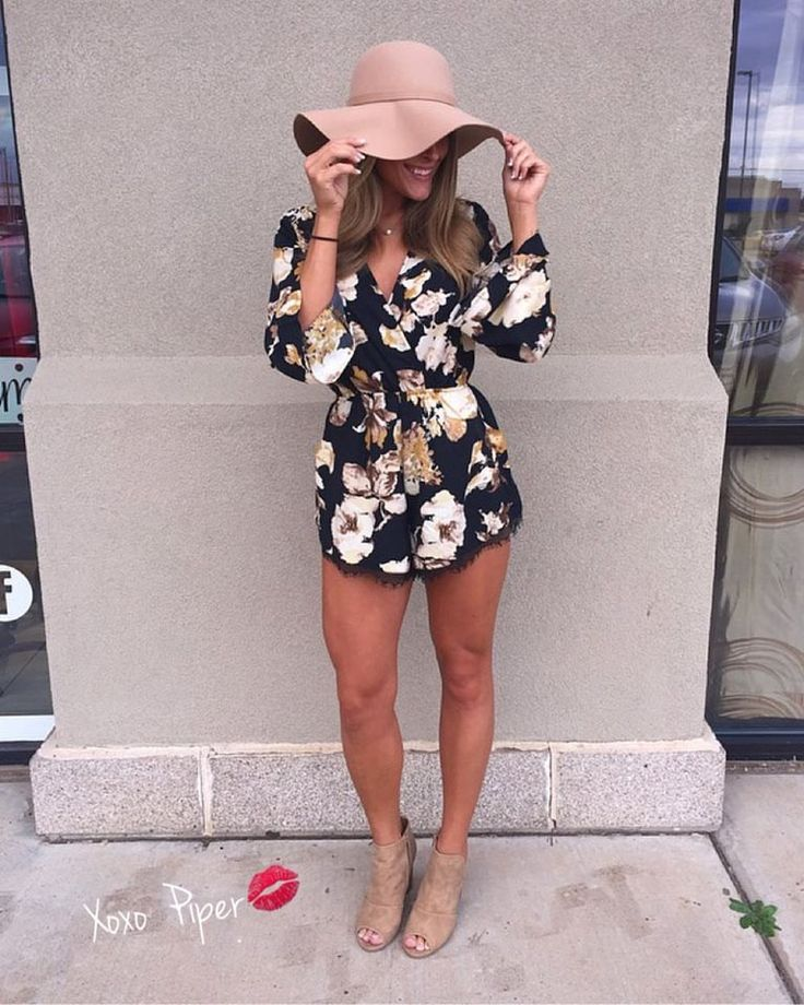 Floral Romper With Peep Toe Booties