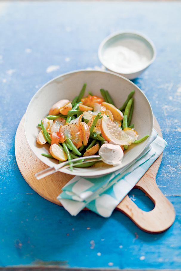 Salade tiède de haricots et haddock, crème au citron