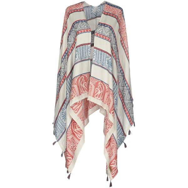 Pepe Jeans Capes & Ponchos ($41) ❤ liked on Polyvore featuring outerwear, white, sleeveless cape, style poncho, sleeveless poncho, pepe jeans london and white cape coat