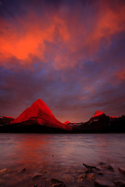 Fire in the sky & mountains, Glacier National Park, Montana, USA, by Joe Dsilva, on flickr.