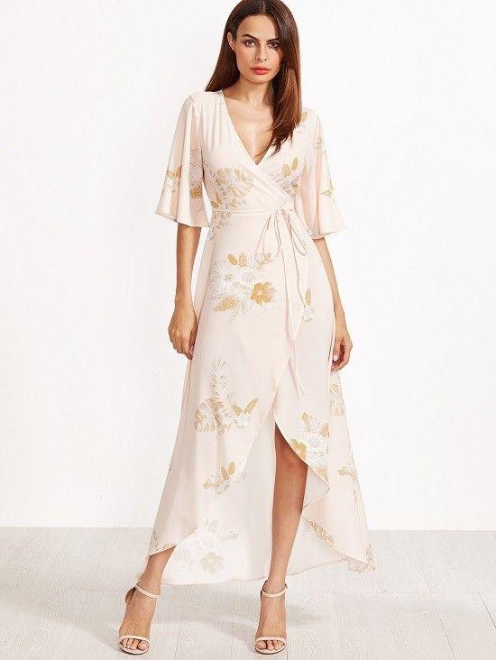 Kleid mit Blumen Druck Kimono Ärmel 2019 Rosa ...