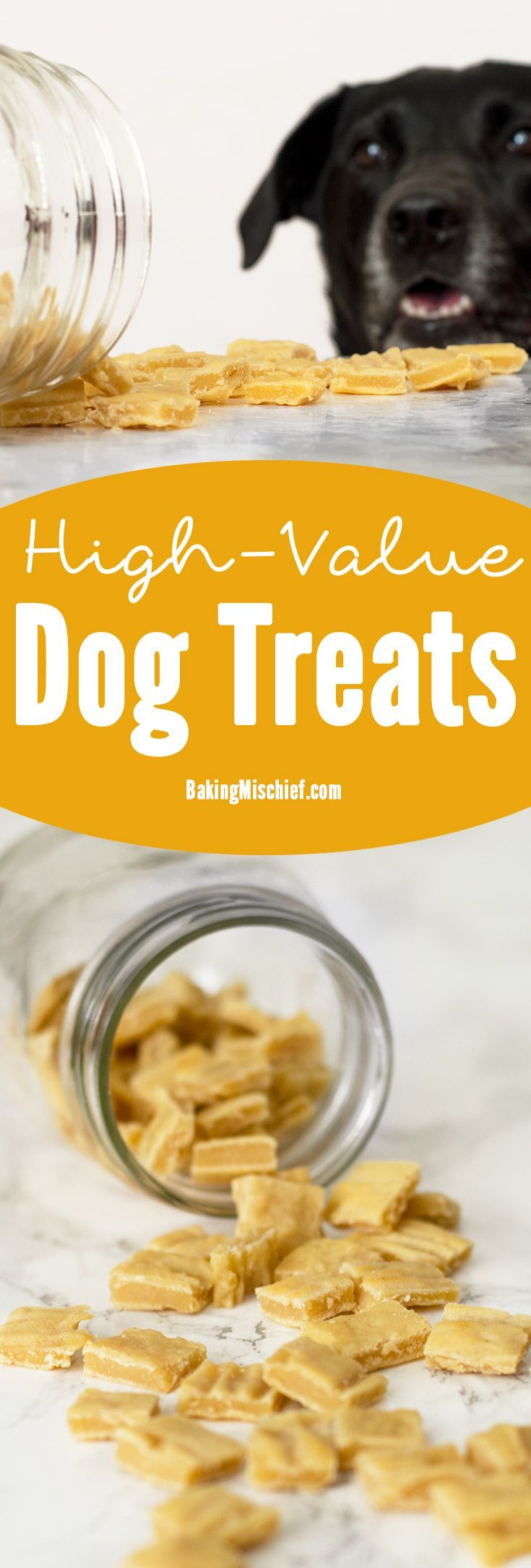 The perfect homemade high-value dog treats for training. Easy, inexpensive, and irresistible to dogs. Your pup will do anything for these things. Also cat friendly--your cat would probably be willing to trip you for one. From http://BakingMischief.com