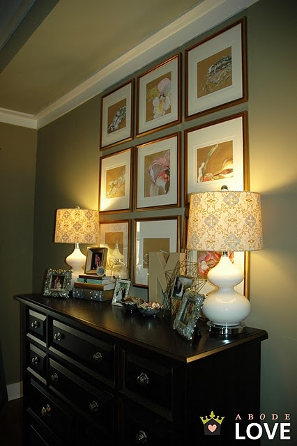 Art above the dresser get rid of the massive mirror for Bedroom mirror inspiration