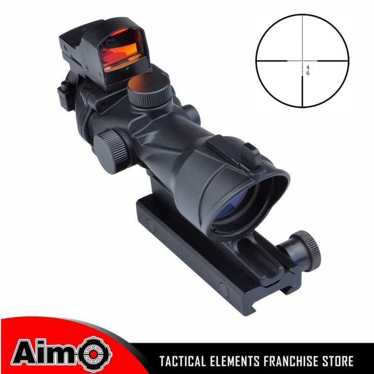 Airsoft Aim ACOG Style 4x32 Cross Rifle Scope Optical Sight Scope with Docter Mini Red Dot Light Sensor Hunting Shootin AO 5317
