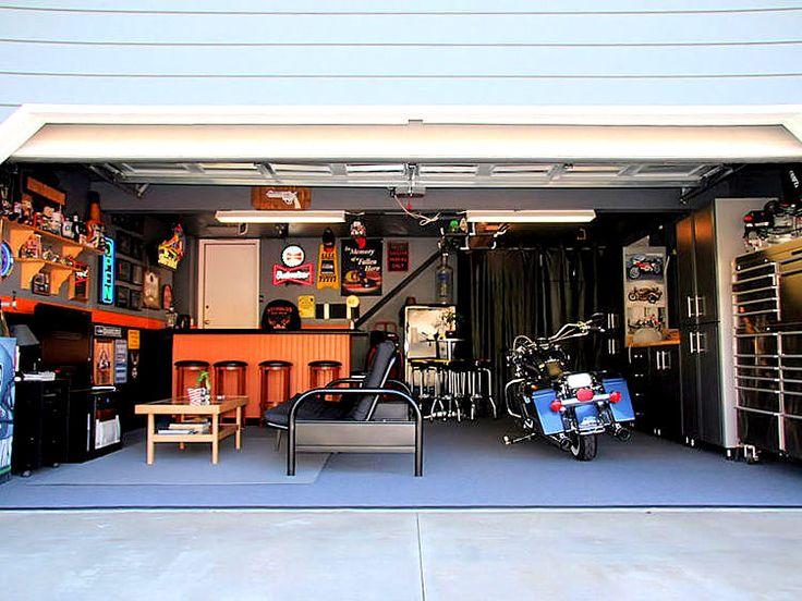 Garaż w stylu amerykańskim - motocykl
