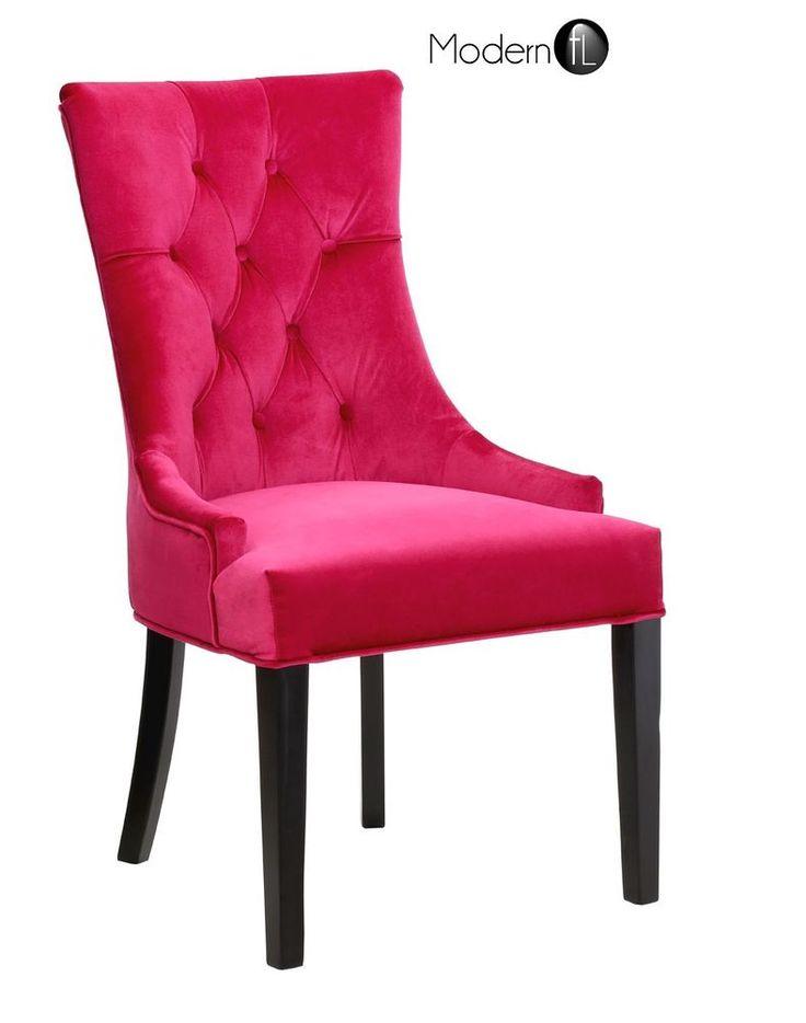 New Magenta Pink Velvet Regal Dining Chair Premium