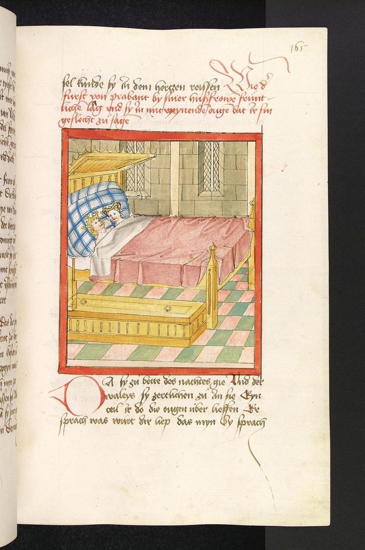 Elsa und Lohengrin haben sich in ihrem Schlafzimmer zur Ruhe begeben. Elsa, traurig und angestachelt von den Verleumdungen der Herzogin von Kleve, fragt den neben ihr im Bett liegenden Lohengrin nach seinem Namen und seiner Herkunft. Verzeichnungen beim linken Bettpfosten. Buchmalereium 1470 (Quelle: Heidelberg / Universitätsbibliothek Heidelberg)