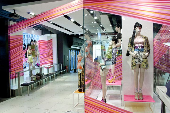 Topshop tape windows by studioXAG, London visual merchandising