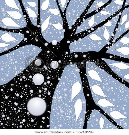 trees - falling snow perspective