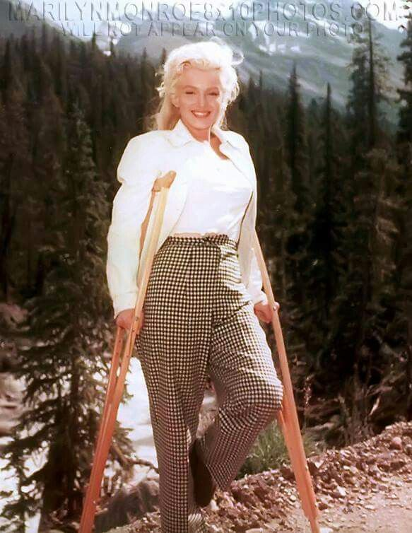 Sporting a broken ankle and crutches, only Marilyn Monroe could make a leg injury look stylish. The actress posed for the shot on set of the River Of No Return in 1953, wearing a black bikini and one high heel. But she braves the pain and flashes one of her iconic smiles.