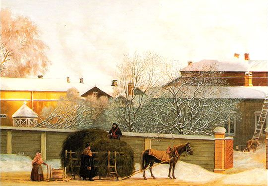 Street in Helsingfors a cold winter morning.            Magnus von Wright (13 June 1805 - 5 July 1868). http://en.wikipedia.org/wiki/Magnus_von_Wright