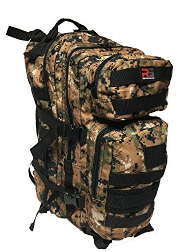 RECON GEAR TACTICAL MOLLE BAG OUTDOOR TRAVEL BACKPACK FREE USA FLAG PATCH Digital Camo * Visit the image link more details.