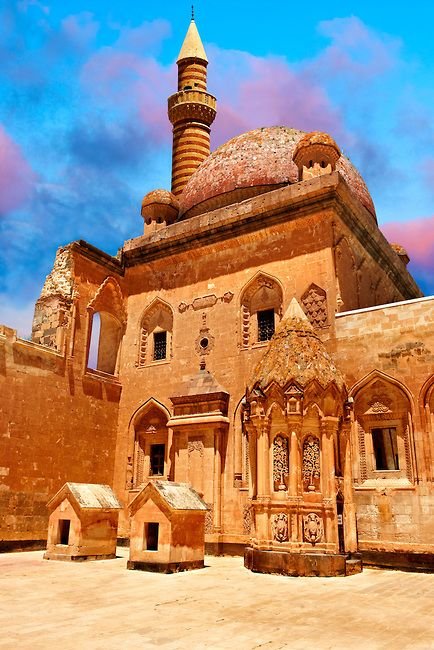Courtyard of the 18th Century Ottoman architecture of the Ishak Pasha Palace (Turkish: İshak Paşa Sarayı) , Ağrı province of eastern Turkey.. | Photos Gallery