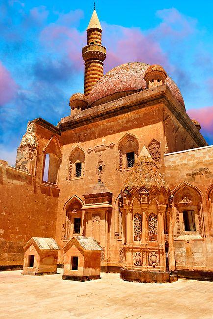 Courtyard of the 18th Century Ottoman architecture of the Ishak Pasha Palace (Turkish: İshak Paşa Sarayı) , Ağrı province of eastern Turkey.. | Photos Gallery