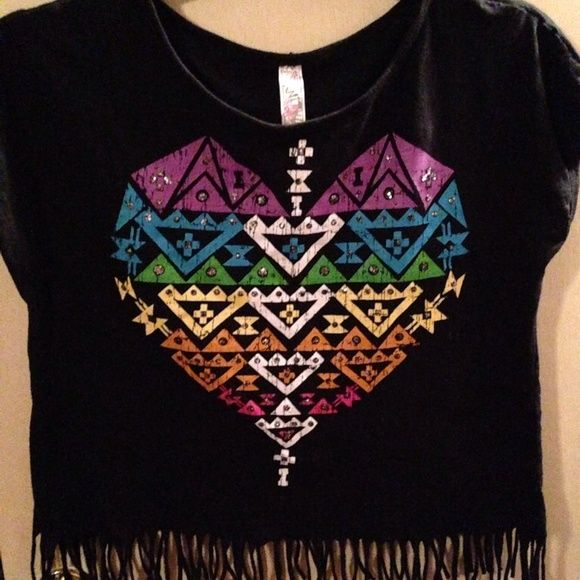 """💜LAST CALL💜Cute Aztec Tee Plus Size This shirt is so adorable. It's a half shirt with fringe. I wore a tank under it but can be worn alone. Only wore one time. It measures 22"""" underarm to underarm and is 20"""" long and another inch or two of fringe. Knitworks Tops Tees - Short Sleeve"""