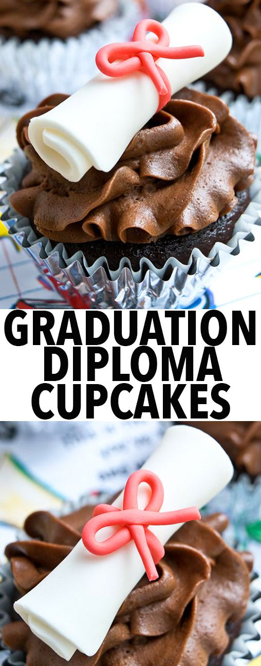 Learn how to make easy GRADUATION DIPLOMA CUPCAKES with fondant. Perfect for graduation parties. These graduation cupcakes will make you believe in easy cake decorating. From http://cakewhiz.com