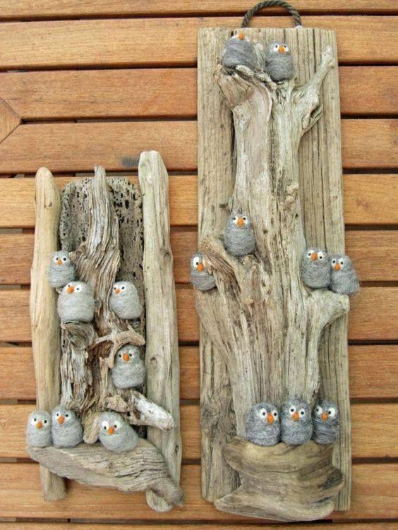 Make owls with felt or steel wool