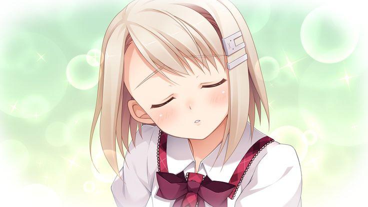 Anime girl with short blonde hair