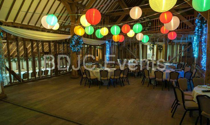 Paper lantern canopy - Weddings in Hertfordshire #bdjcevents #eventlighting #partylighting #venuedressing #ledtablecentres