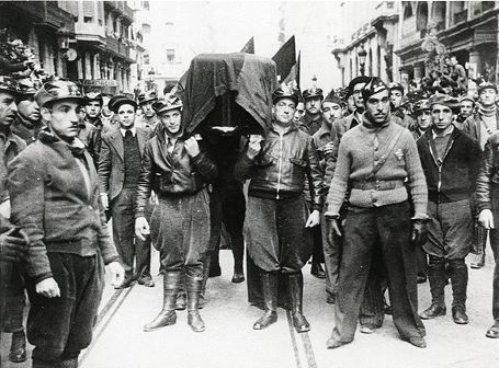 funeral of Buenaventura Durruti Dumange (1896-1936), anarchist lider and one of the most important members of the CNT-FAI