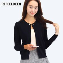 Refeeldeer Knitted Cardigan Women 2017 Spring Autumn Long Sleeve Sweater Cardigan Female Single Button Pull Femme Black Pink //FREE Shipping Worldwide //