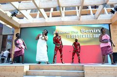 Nadia Mikushova. A dancing group from Benin exhibiting at the EXPO Milano 2015. Royalty Free Stock Images