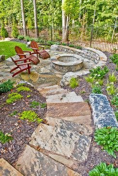 sloped yard firepit ideas patio ideas landscaping ideas backyard ideas