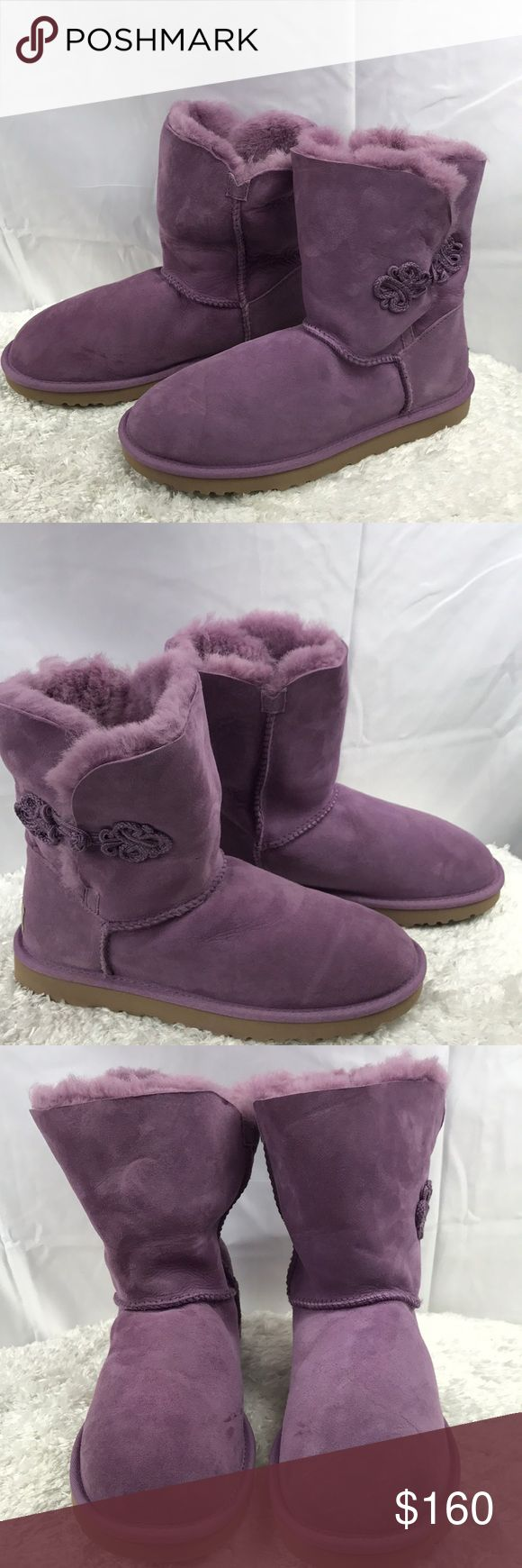 UGG Australia Bailey Mariko Genuine Shearling Boot GENTLY USED (SEE PHOTOS). NO BOX INCLUDED.  100% AUTHENTIC.   -A beautiful braided knot trims the buttoned shaft of a chic short boot that can be cuffed for cute variation.  - The soft, cozy lining is made from genuine shearling with a plush UGGpure(TM) footbed to keep feet warm and comfortable. - UGGpure is a moisture-wicking textile made entirely from wool but crafted to feel & wear like genuine shearling.  NOTE: This item is gently used…