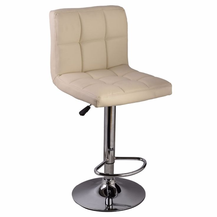 1PC Off White Bar Stool PU Leather Barstools Chair Adjustable Counter Swivel Pub HW50129OW