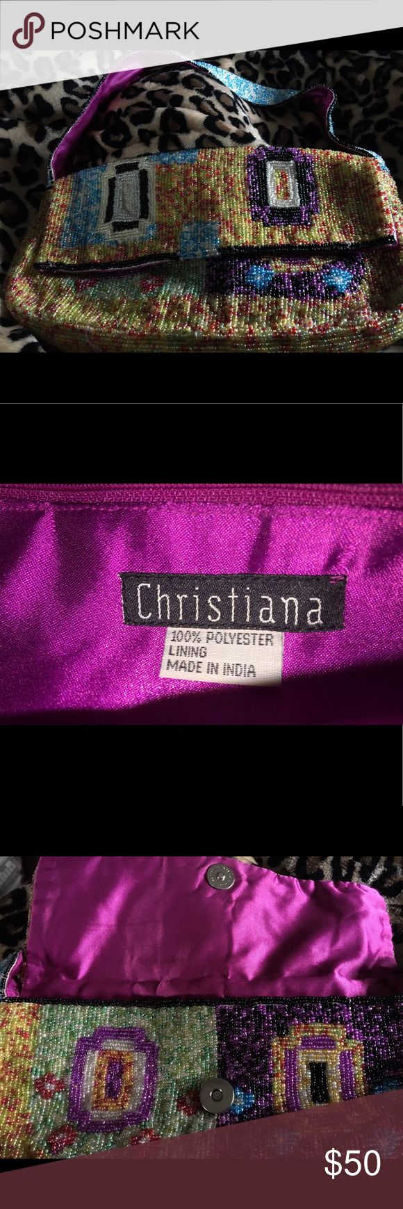 CHRISTIANA beaded fold over purse straps  $20 CHRISTIANA beaded colorful fold over purses. Beaded straps inside zipper pocket , fuchsia lining .  New without tags .  Real fashion statement !!! $30🦋 CHRISTIANA Bags Mini Bags