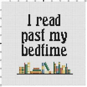 I read past my bedtime - Library Cross Stitch Pattern - Easy nerd beginner cross stitch