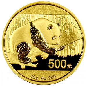 """2016 China Panda Gold Coins - 30 gram In 2016, the Chinese Mint issued a totally new design for their Gold Pandas. In fact this year is a """"First-Year-of-Issue"""" in what is expected to be significant future changes in Panda coin designs.   For the first time, the 2016 Pandas will adhere to the metric system of measurement and will weigh 30 grams (.9645 ounces) instead of a full ounce."""