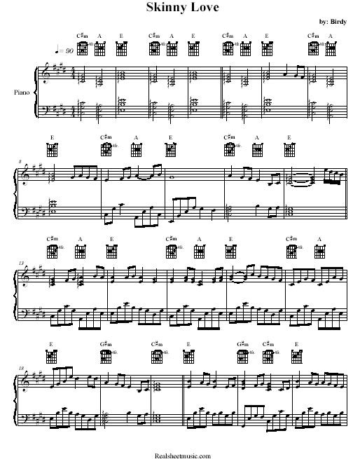 Skinny Love Chords Piano