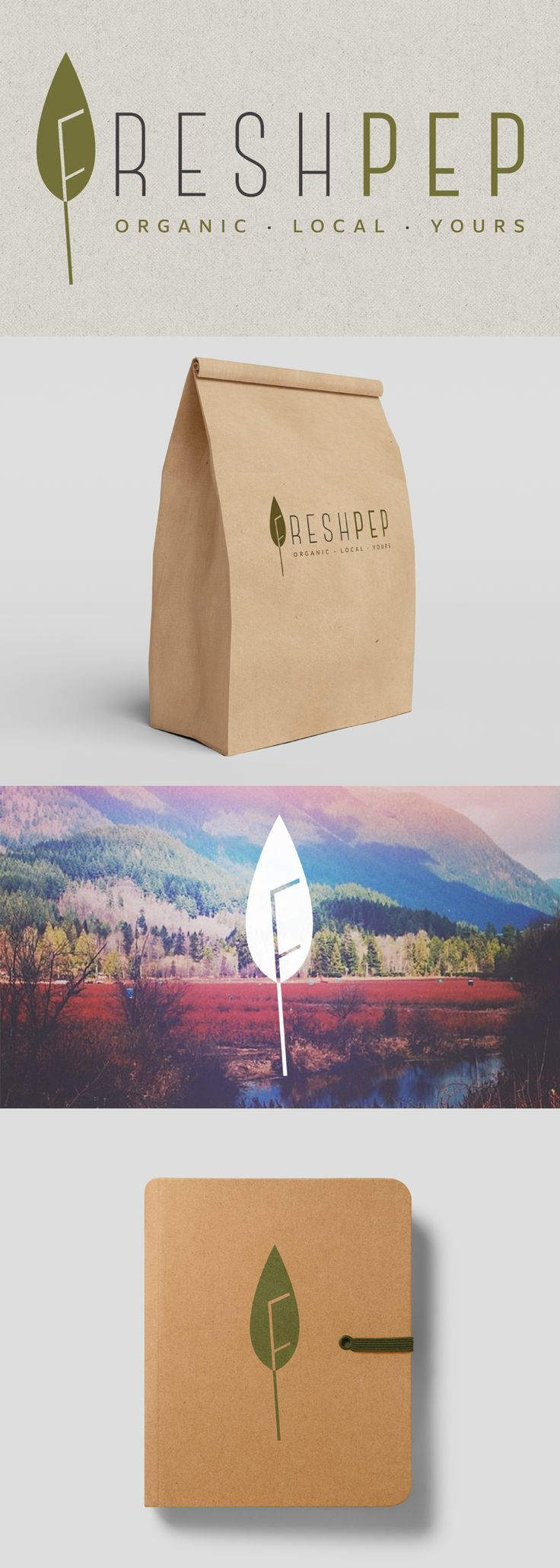 "The goal of this logo design and branding project for Freshpep, an online grocery store for health-conscious consumers, was to convey the organic and natural aspect of in-store product selection right away. The ""leaf + F"" idea helps to build a recognizable and memorable brand mark. We chose to use craft paper to communicate the warm and traditional spirit of the brand."