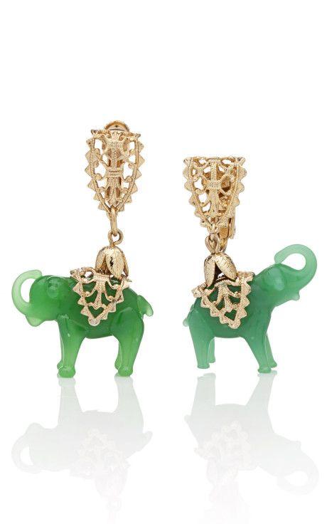 CAROLE TANENBAUM  Napier Jade Elephant Earrings