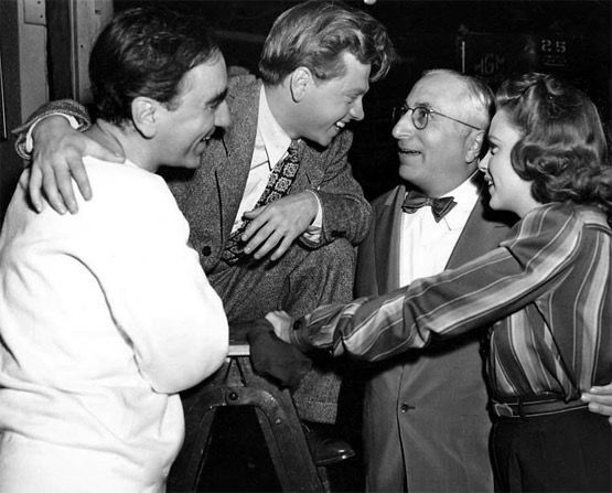 Busby Berkeley, Mickey Rooney, Louis B. Mayer and Judy Garland