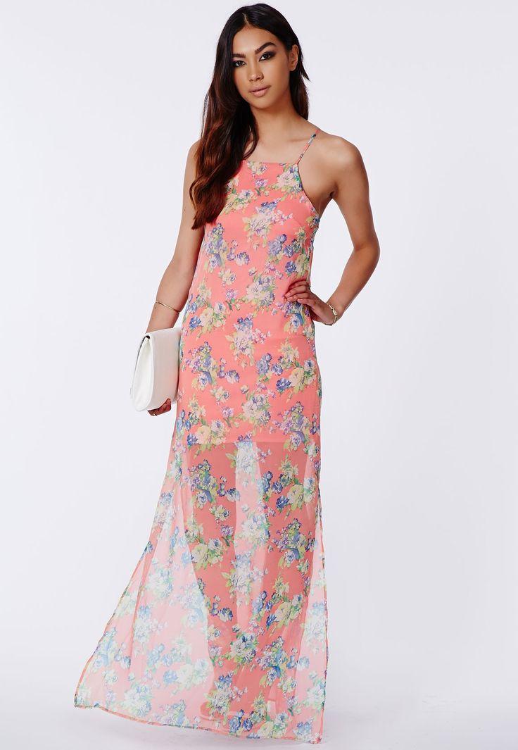 Rikalia Floral Strappy Maxi Dress - Dresses - Maxi Dresses - Missguided