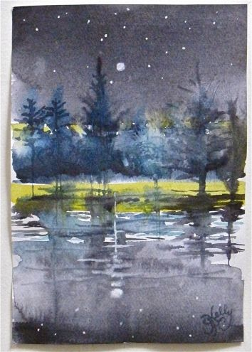 Cold Starry Night - miniature landscape by New York Artist Gretchen Kelly, painting by artist Gretchen Kelly