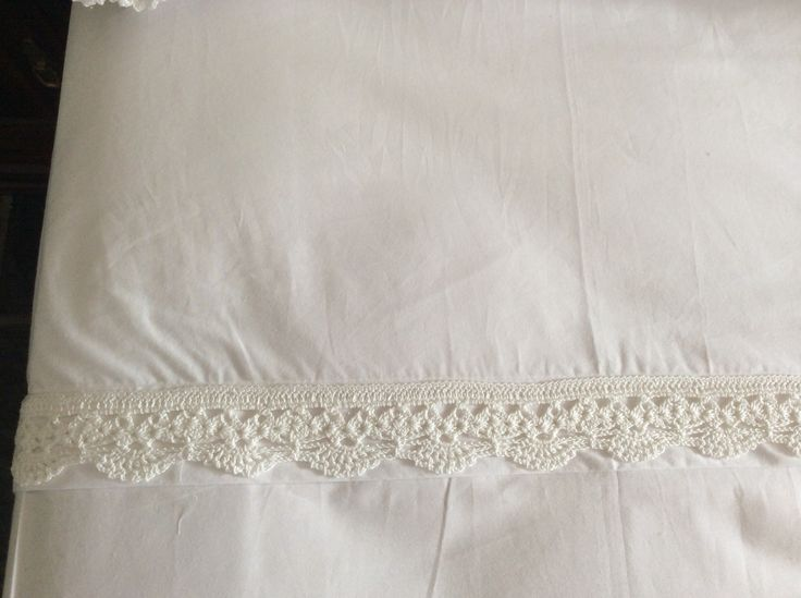 Cotton percale top sheet with crochet details by cotton Crochet Company