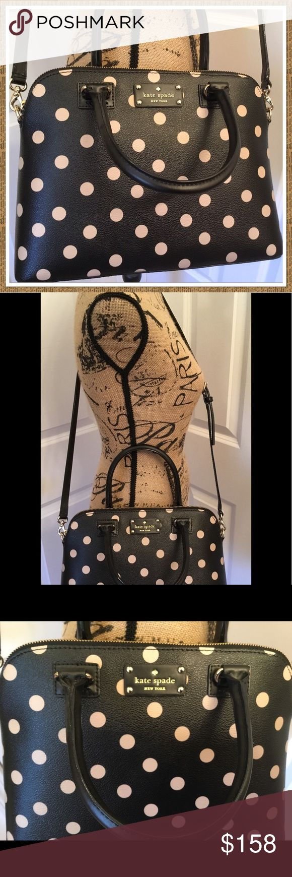 """Kate Spade Wellesley Small Rachelle Polka Dot NWT This is a brand new with tags Kate Spade Wellesley Small Rachelle.  Black with beige polka dots.   Grainy vinyl with leather trim and gold hardware.  Measures about 12.5"""" (L) x 9"""" (H) x 5"""" (W).  The short handle have a drop of about 4.5"""", and it has a removable & adjustable crossbody strap.  I noticed a small imperfection in one of the dots on the back of the bag.  It is so tiny that the camera couldn't even capture it.  Super nice bag! kate…"""