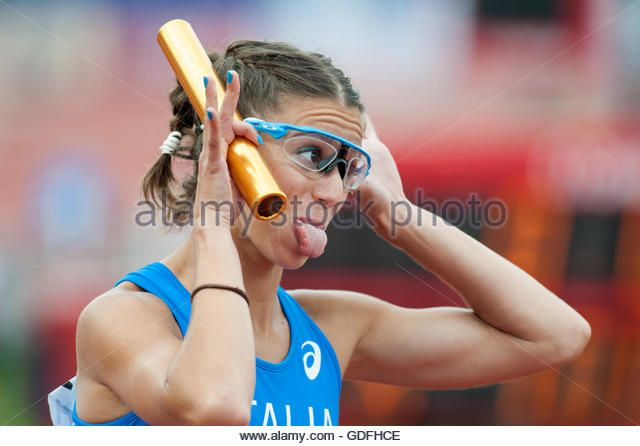 Irene Siragusa of Italy pulls a face during the 4x100m women's relay at the 2016 European Athletics Championships. Amsterdam, Netherlands. (Stock Photo)  © Richard Wareham Fotografie / Alamy Stock Photo  http://www.alamy.com  http://www.alamy.com/stock-photo-amsterdam-the-netherlands-10th-july-final-day-of-the-2016-european-111595694.html