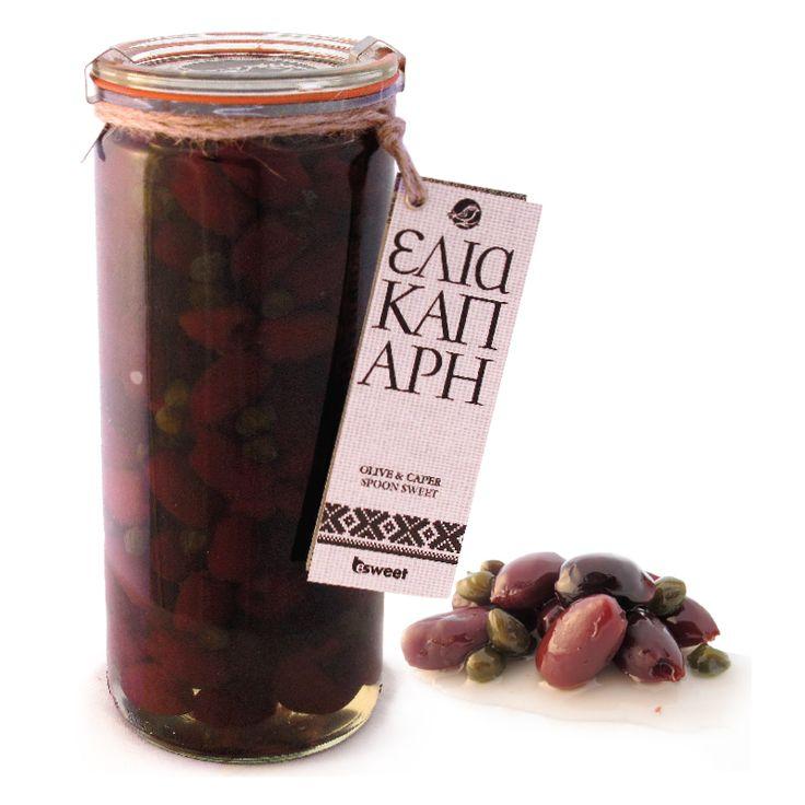 Γλυκό του κουταλιού Ελιά Καλαμών και Κάππαρη, από ελληνικούς καρπούς. Σε επώνυμο γυάλινο βάζο ανώτερης ποιότητας, κατάλληλο για οικιακή χρήση. | Kalamon Olives and Capers spoon sweet with greek fruit
