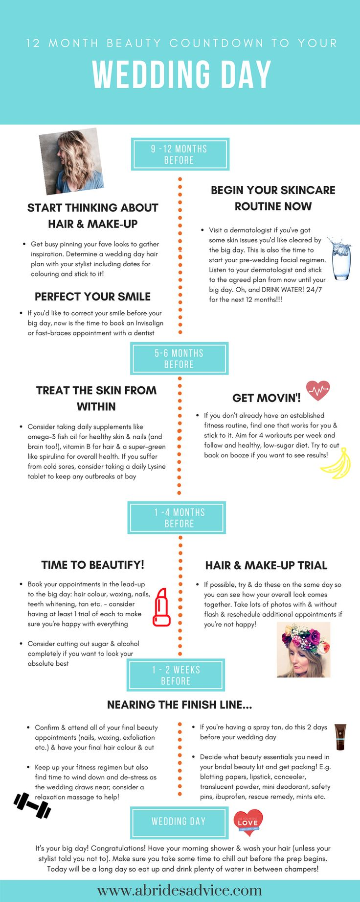 bridal beauty countdown wedding beauty checklist bride beauty regime easy bridal beauty calendar