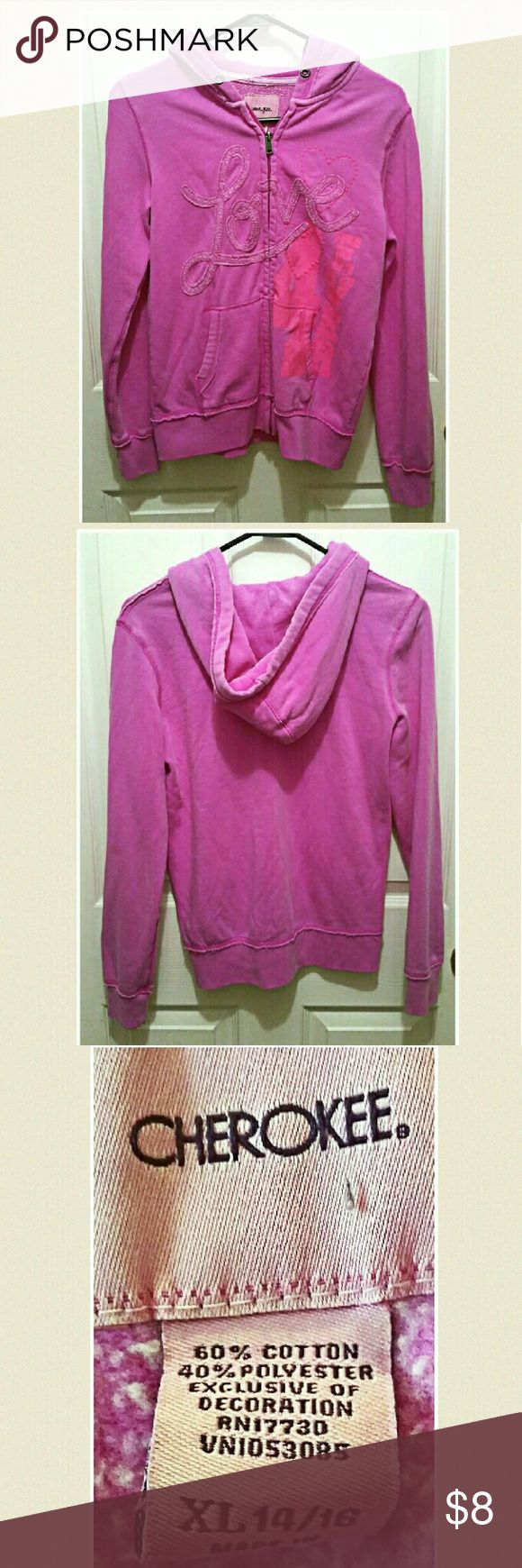 Girls Pink sweatshirt By Cherokee 60%cotton, 40%polyester. Size xl girls. No holes or stains noted. Cherokee Shirts & Tops Sweatshirts & Hoodies