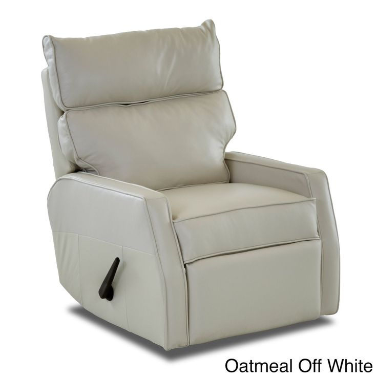 Klaussner Furniture Made to Order Fairlane Leather Reclining Rocking Chair (Oatmeal Off White), Tan, Size Standard